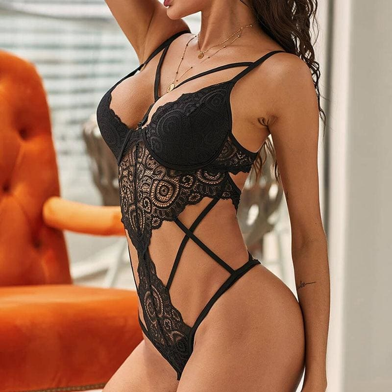 Black Push Up Lace Sexy Hollow Out Teddy Bodysuit