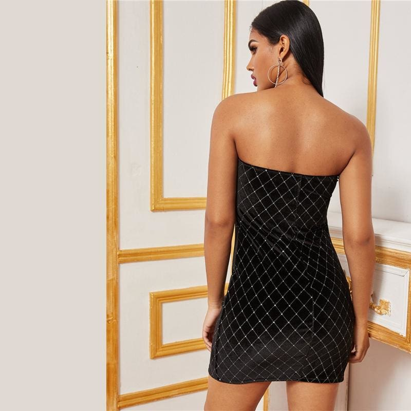 Black Rhinestone Velvet Tube Party Mini Dress