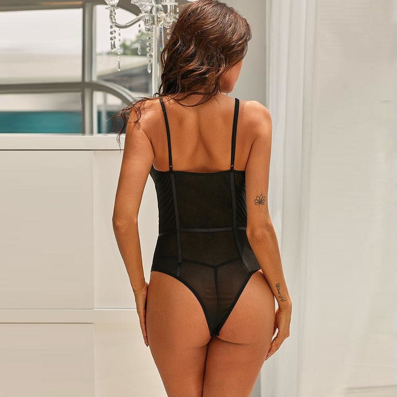 Black See Through Sexy Mesh Bandage Bodysuit