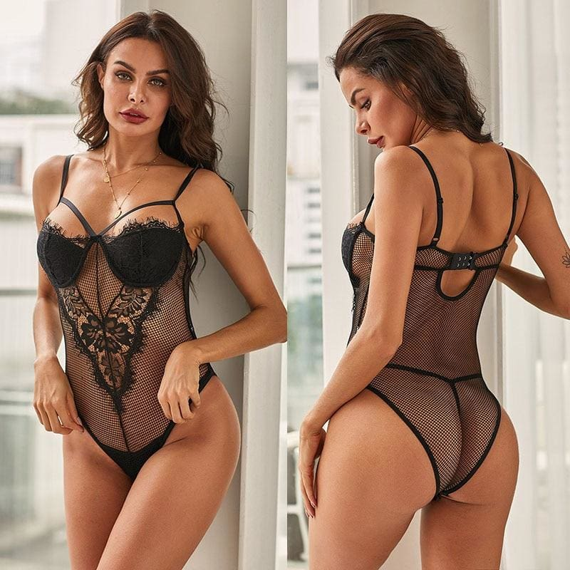 Black Sexy Sheer Lace Mesh Teddy Bodysuit