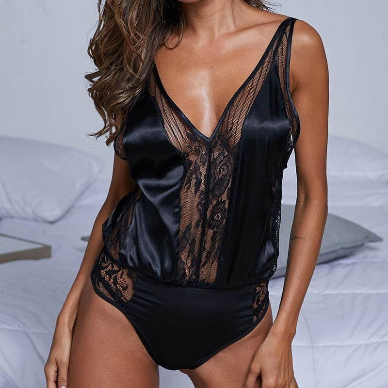 Black Silk Hollow Out Deep V Floral Lace Bodysuit