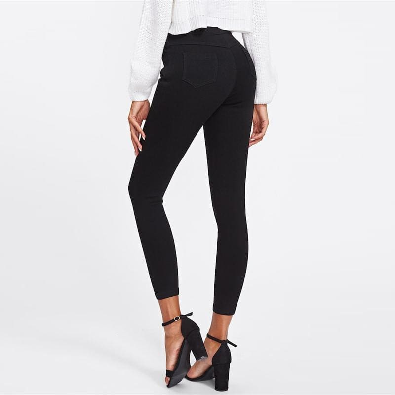 Black Single Breasted Skinny High Waist Jeans