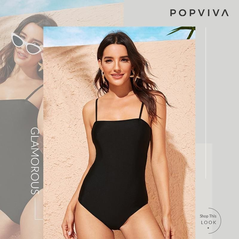 Black Spaghetti Strap One Piece Swimsuit - Black / S - One Piece Swimwear