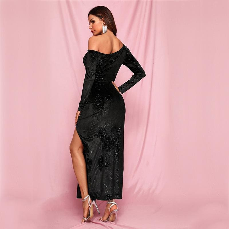 Black Split Thigh Glitter Velvet Prom Asymmetrical Neck Maxi Dress