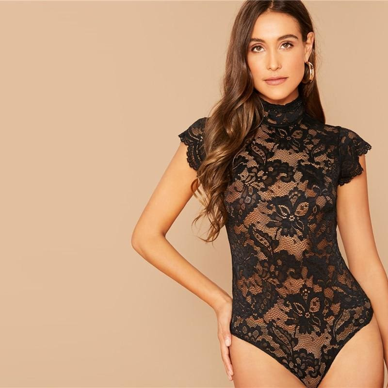 Black Tie Up Back Lace Sheer Bodysuit