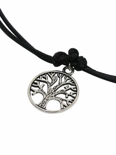 Black Tree-Shaped Pendant Necklace - Necklaces