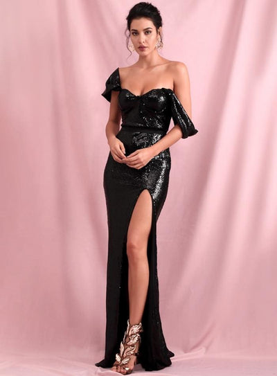 Black Tube Top Drop Shoulder Sequins Split Prom Maxi Dress - Dresses