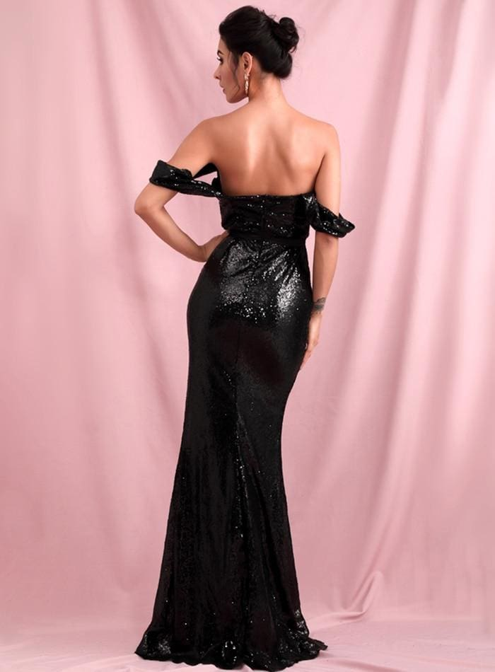 Black Tube Top Drop Shoulder Sequins Split Prom Maxi Dress
