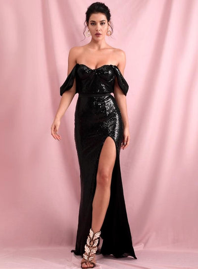 Black Tube Top Drop Shoulder Sequins Split Prom Maxi Dress - BLACK / XL - Dresses