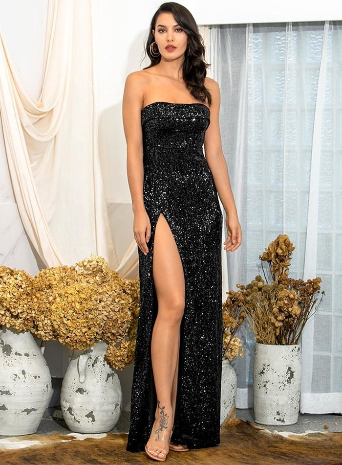 Black Tube Top Ruffle Split Sequins Prom Maxi Dress