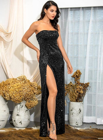 Black Tube Top Ruffle Split Sequins Prom Maxi Dress - Dresses