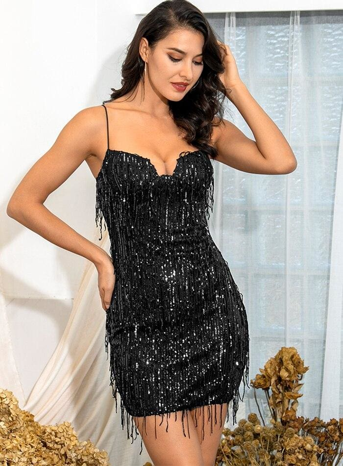 Black Tube Top Sequin Bodycon Party Mini Dress - BLACK / XS - Dresses