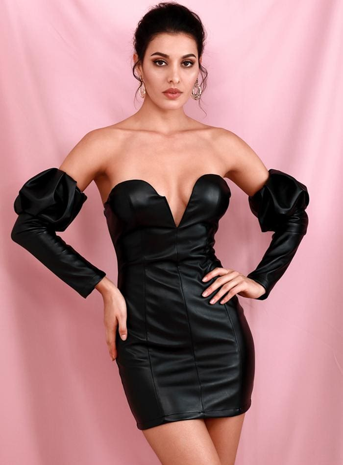 Black Tube Top V-neck Bubble Sleeve PU Bodycon Party Mini Dress