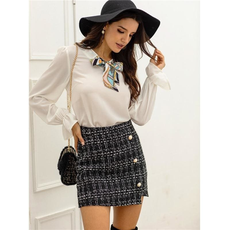 Black Tweed Pearls Button High Waist Office Skirts