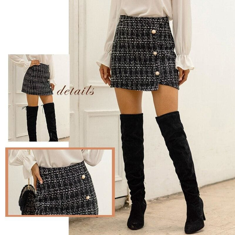Black Tweed Pearls Button High Waist Office Skirts - Black / XL - Skirts