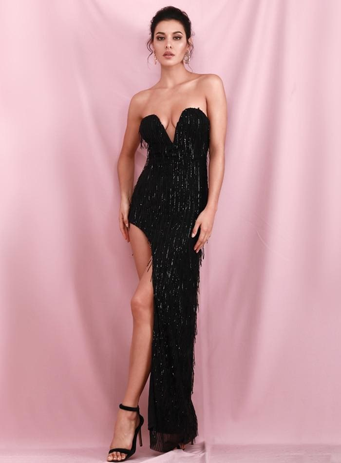 Black Wrapped V-Neck Cut Out Tassel Sequins Prom Maxi Dress