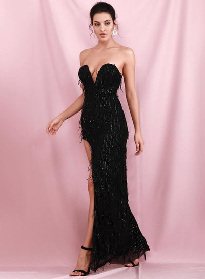 Black Wrapped V-Neck Cut Out Tassel Sequins Prom Maxi Dress - Dresses