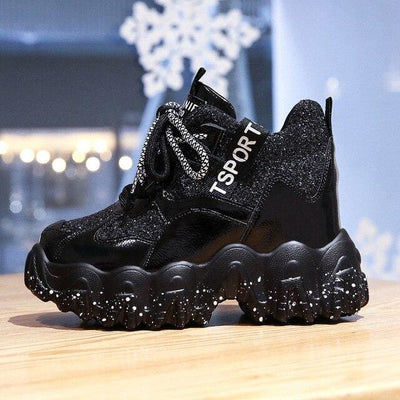 Bling Lace-up Platform Sneakers - Black / 36 - Womens Sneakers