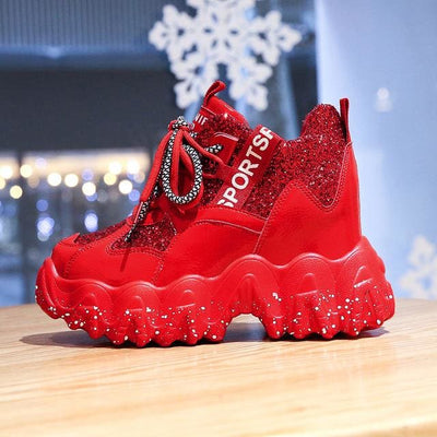 Bling Lace-up Platform Sneakers - Red / 38 - Womens Sneakers