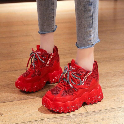 Bling Lace-up Platform Sneakers - Womens Sneakers