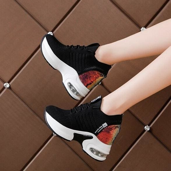Bling Patchwork Mesh Platform Sneakers - Black / 6.5 - Womens Sneakers