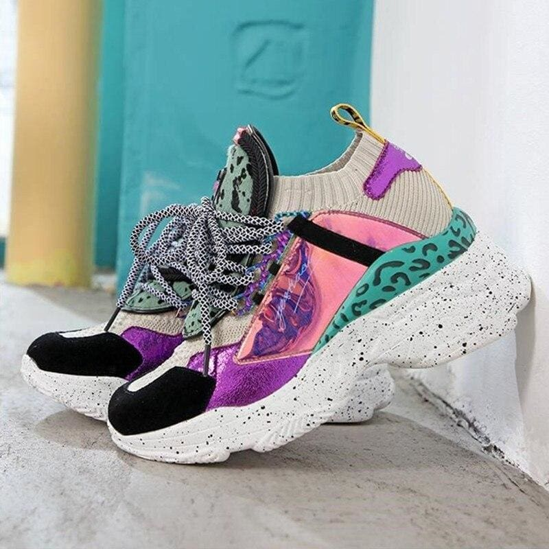 Bling Patchwork Women Platform Sneakers