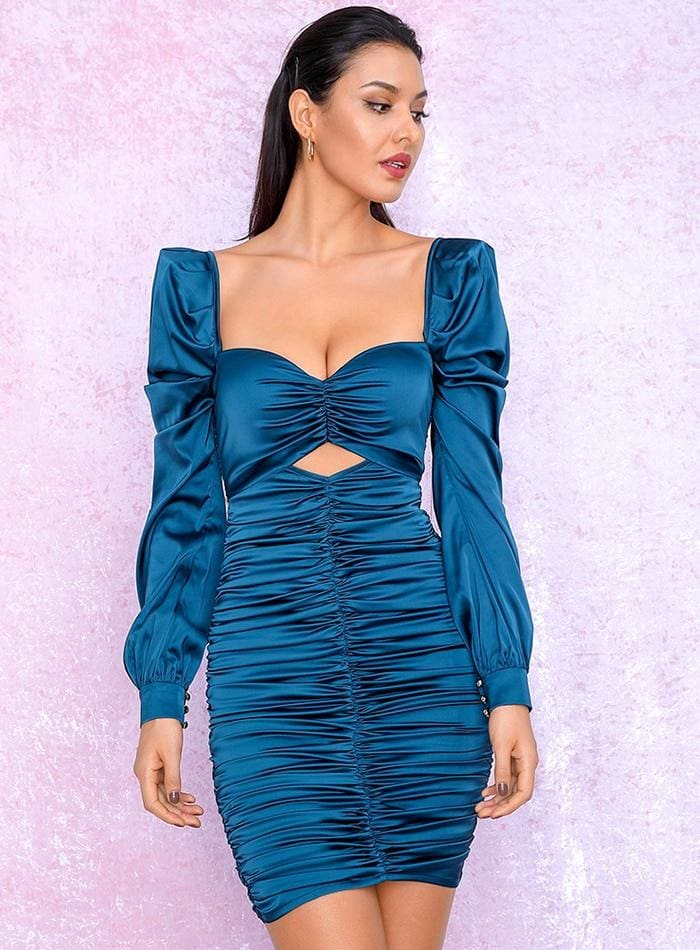 Blue Cut Out Puff Sleeve Reflective Party Mini Dress - BLUE / S - Dresses