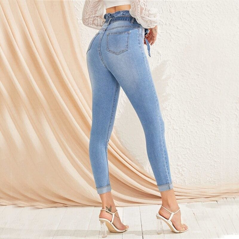 Blue Paperbag Waist Bleach Wash Skinny Jeans - Blue / XS - Jeans & Pants