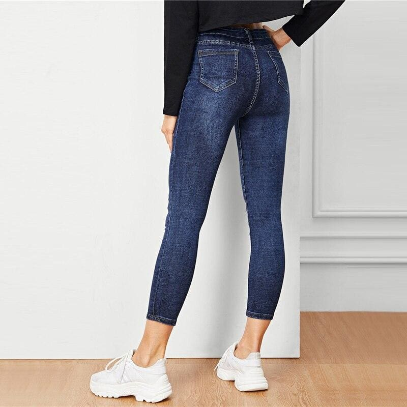 Blue Solid Button Pocket Denim Skinny Jeans