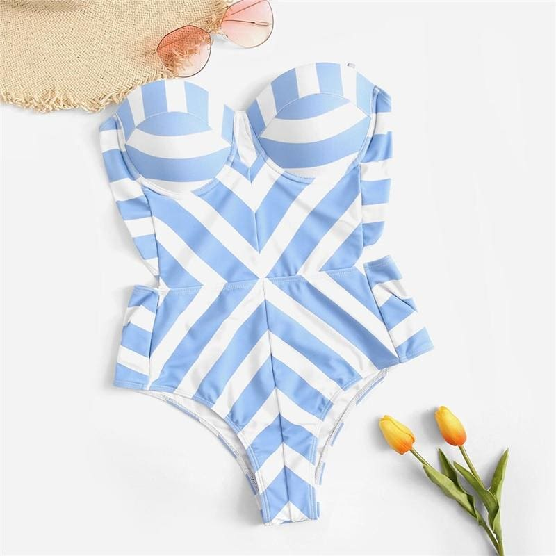 Blue Striped Bustier Bandeau Push Up One Piece Swimwear - Blue / S - One Piece Swimwear