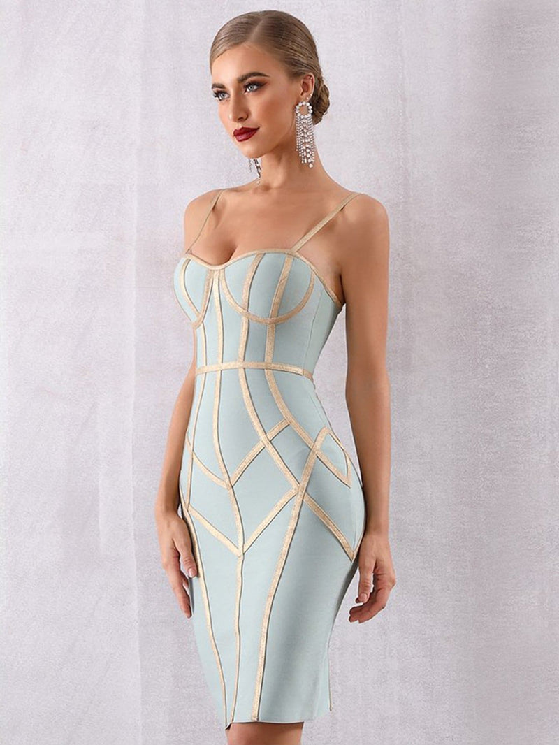 Bodycon Bandage Spaghetti Strap Celebrity Party Midi Dress - Dresses