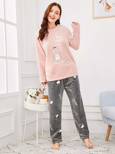 Bottle & Letter Embroidered Plush Pajama Set - Nightwears