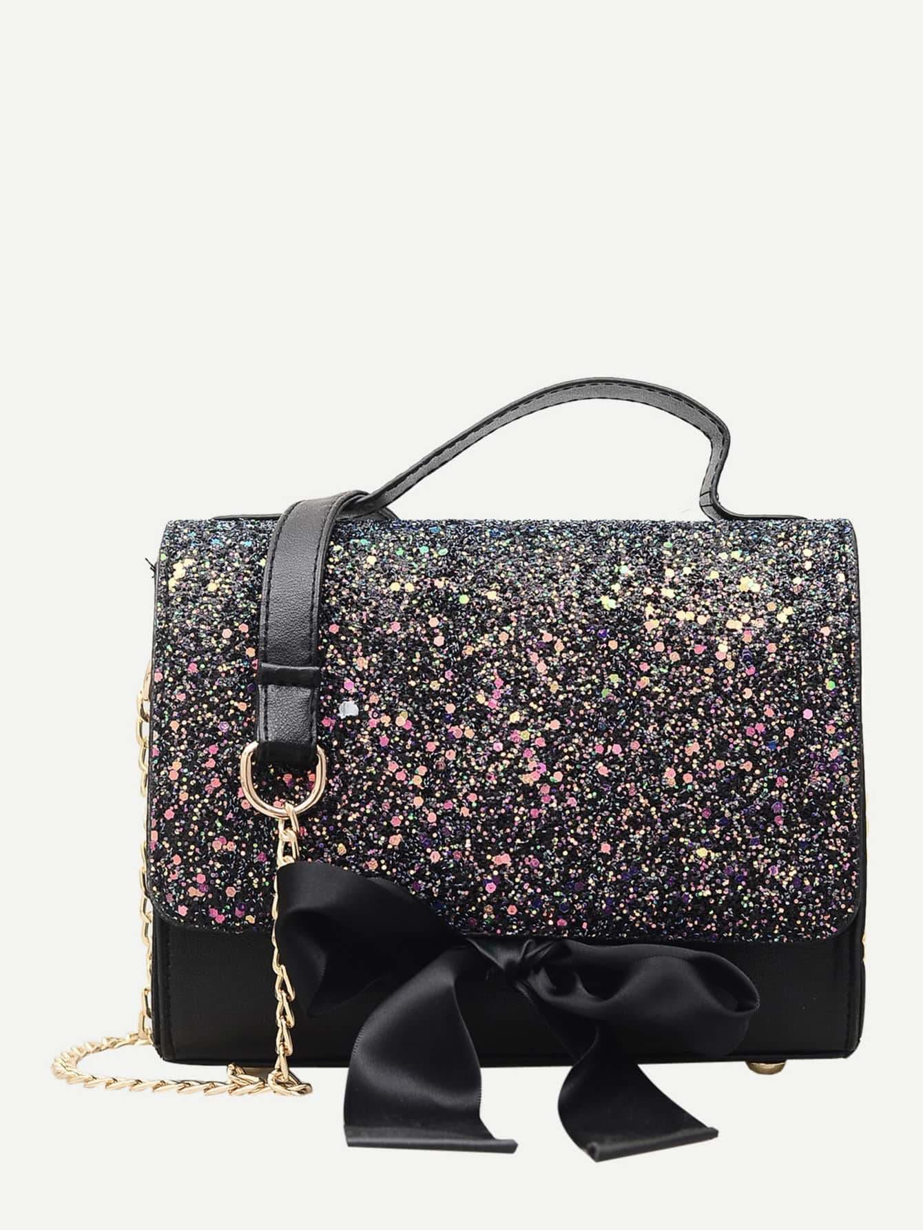 Bow Tie Glitter Chain Bag - Womens Bag