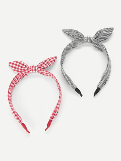 Bow Tie Plaid Headband 2Pcs - Hair Accessories