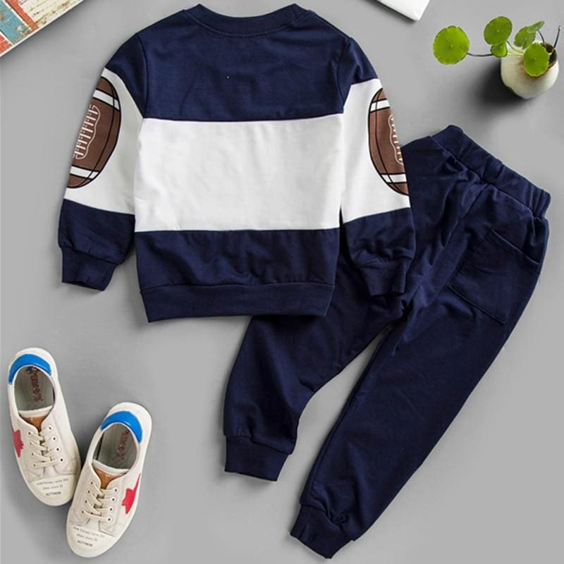 Boys Letter Print Sweatshirt With Tapered Pants - Navy / 6T - Boy Suit Set