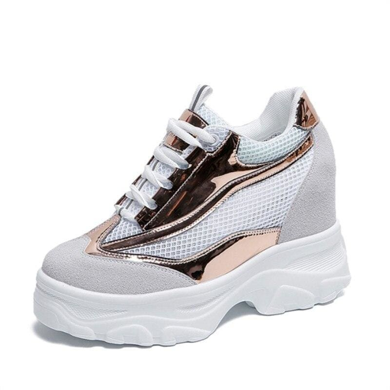 Breathable Mesh Platform Sneakers - Chocolate / 8.5 - Womens Sneakers