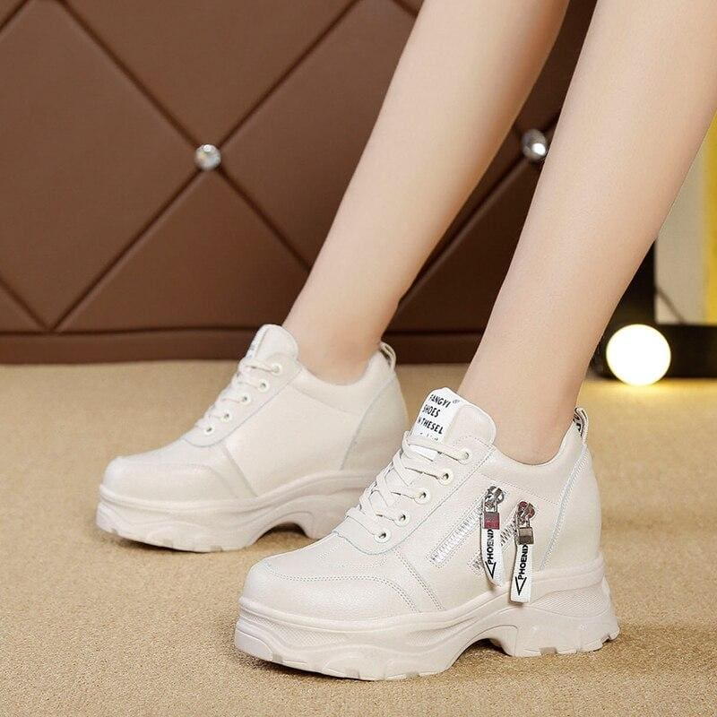 British Zipper Lace Up Platform Sneakers - Beige / 6.5 - Womens Sneakers