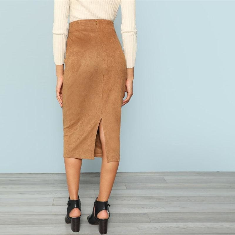 Brown Solid Office Tie Waist Wrap Long Skirt