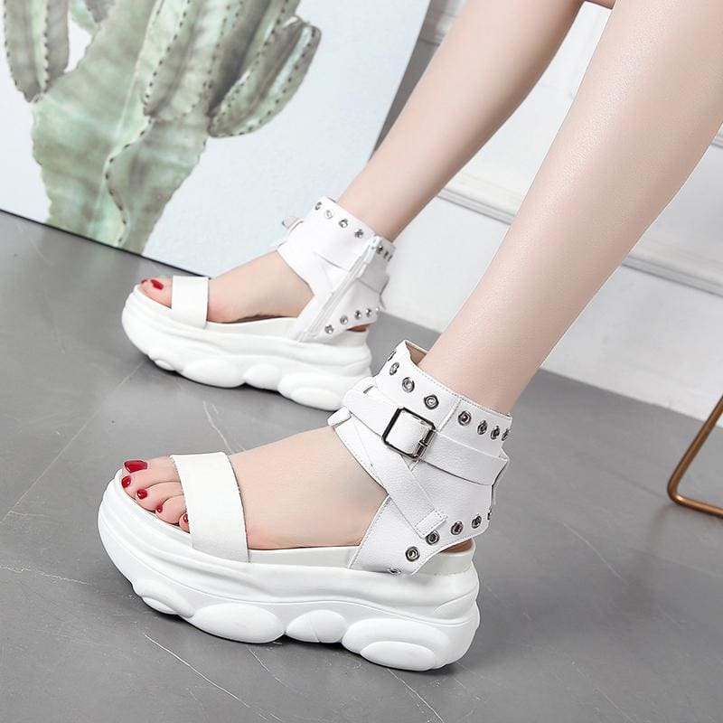 Buckle Leather Gladiator Platform Sandals - Womens Sneakers