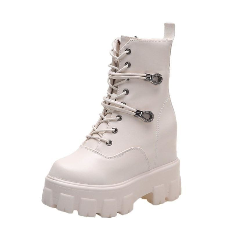 Buckle Leather Platform Motorcycle Boots - Beige / 5 - Womens Sneakers