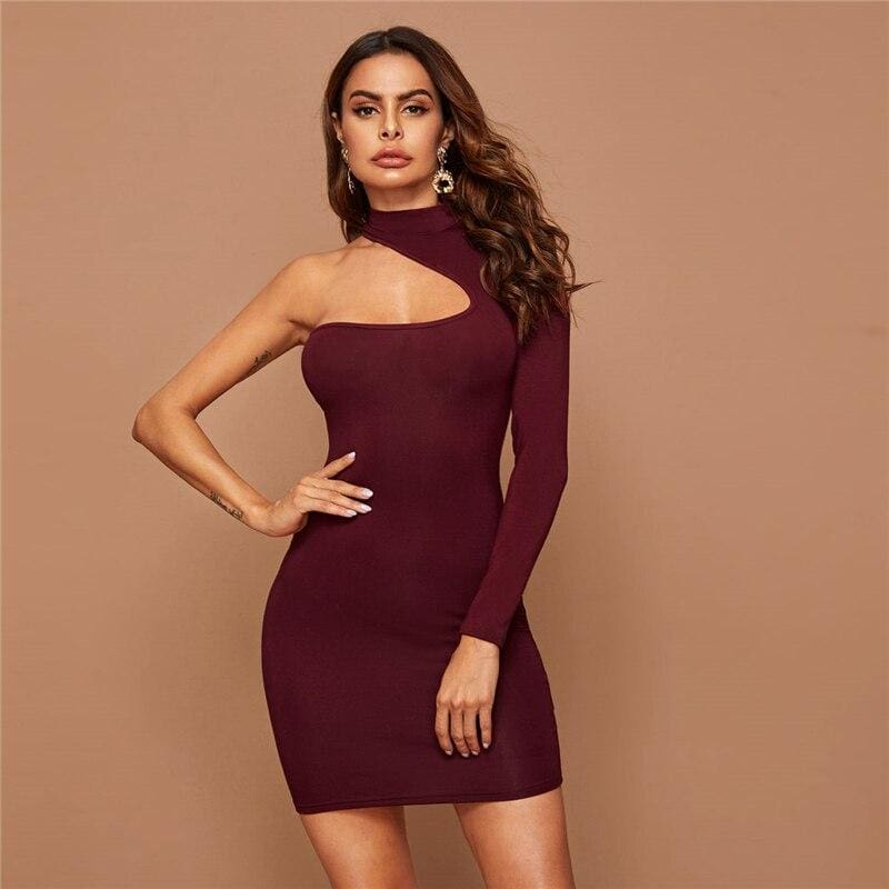 Burgundy Asymmetrical One Shoulder Party Bodycon Mini Dress