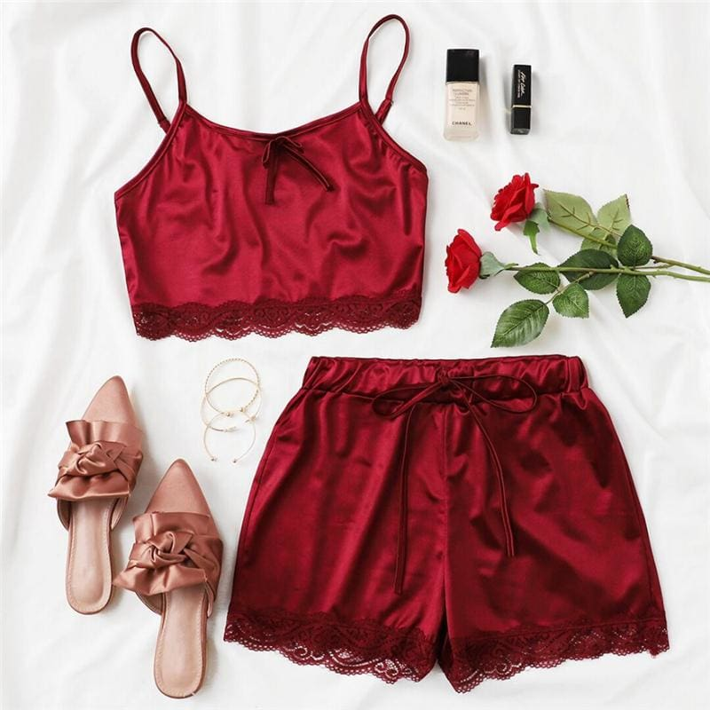Burgundy Lace Trim Satin Cami And Shorts PJ Set