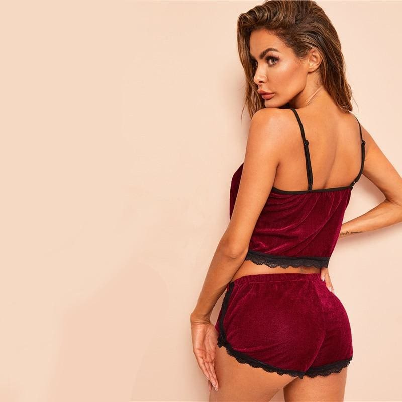 Burgundy Lace Trim Velvet Cami And Lace Shorts Pajama Set