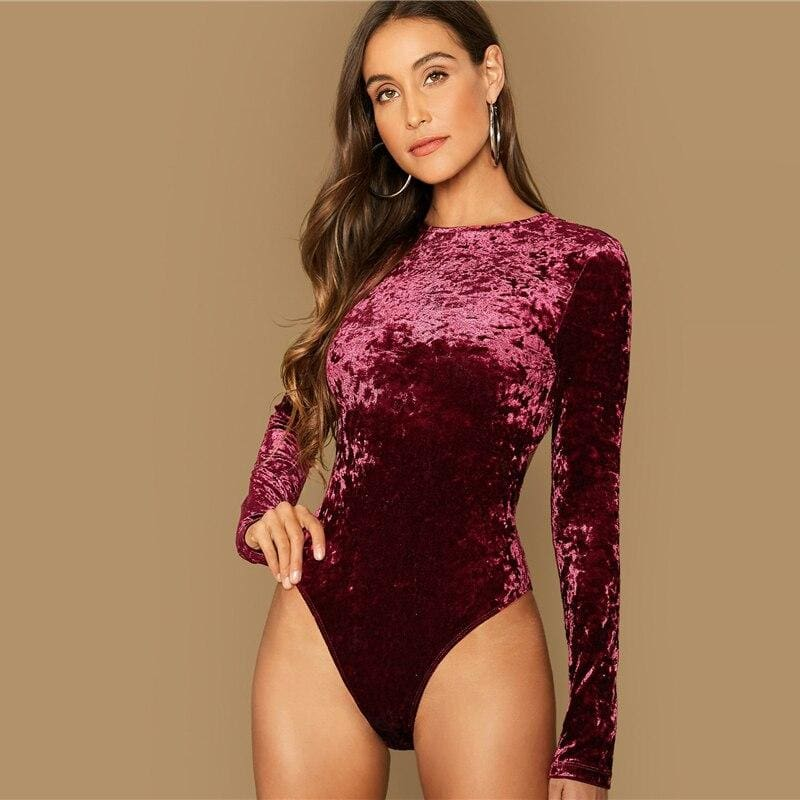 Burgundy Open Back Velvet Bodysuit