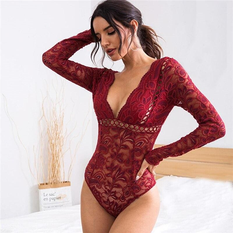 Burgundy Plunging V-cut Back Sheer Lace Bodysuit