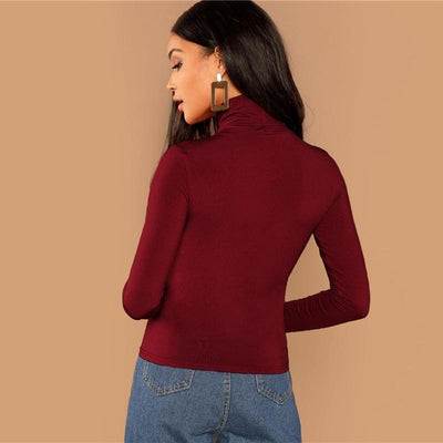 Burgundy Turtleneck Slim Fit Office T-Shirt - Blouses