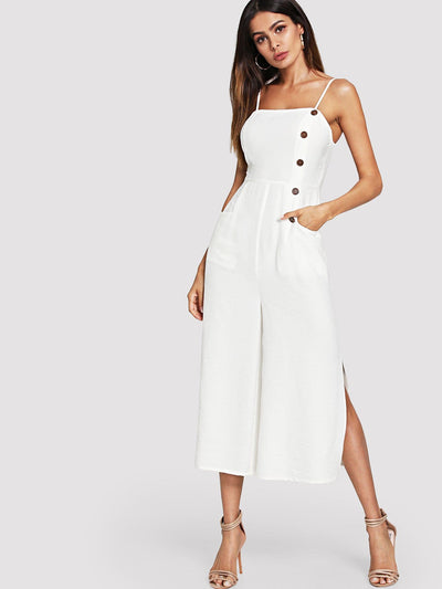 Button And Pocket Front Slit Wide Leg Jumpsuit - Womens Jumpsuits