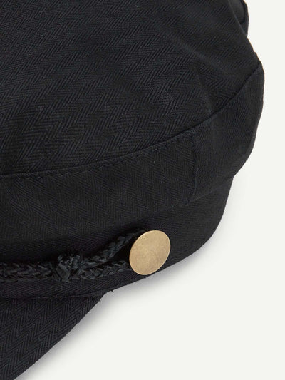 Button Detail Bakerboy Cap - Hats & Gloves