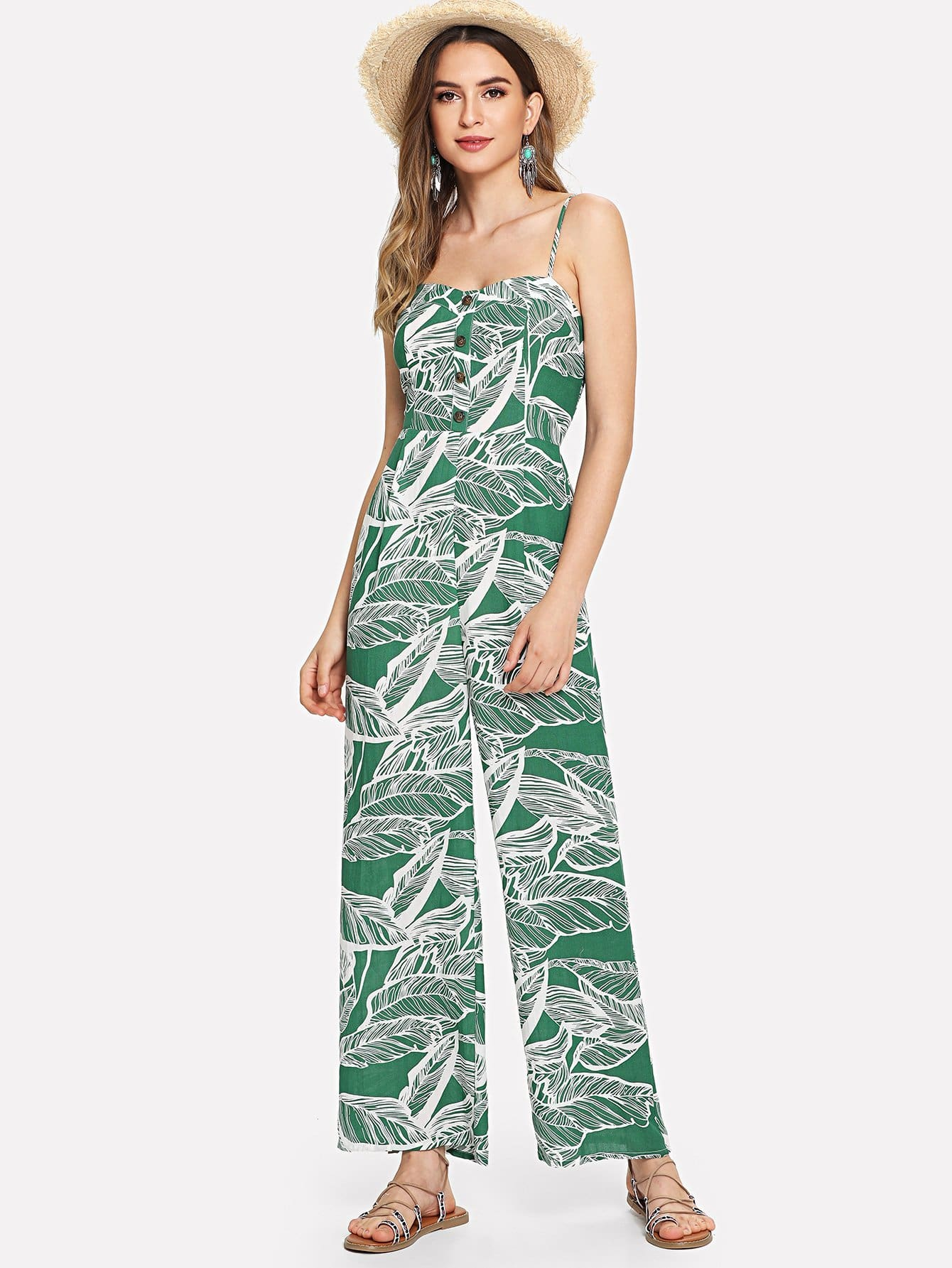 f3be1bf8597 Button Front Jungle Leaf Print Wide Leg Cami Jumpsuit - Womens Jumpsuits