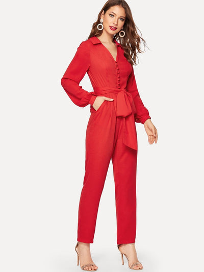 Button Front V Neck Belted Jumpsuit - Womens Jumpsuits